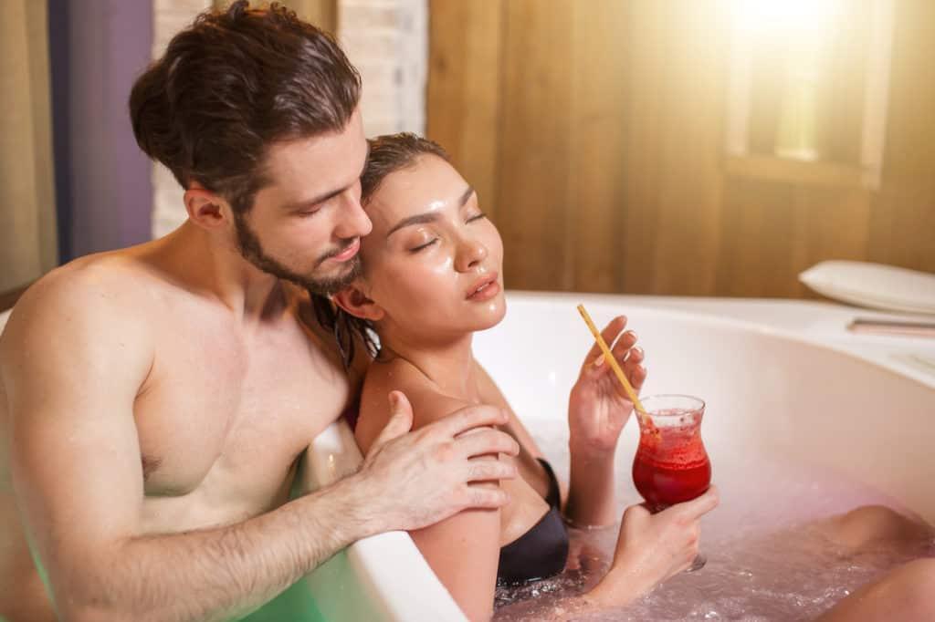 in a hot tub