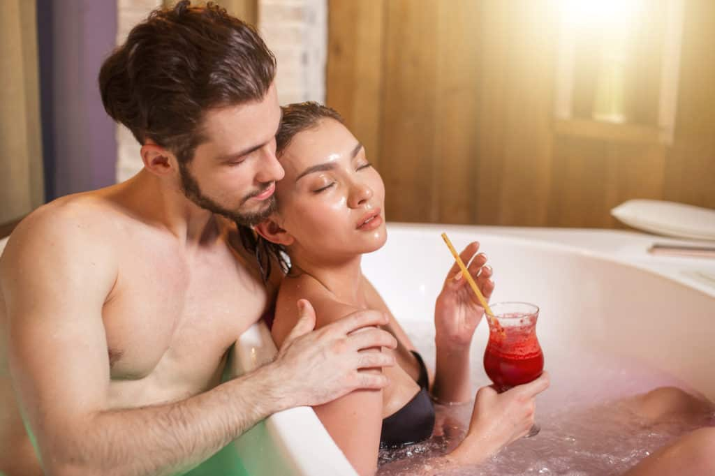 relax together in a jacuzzi or hot tub