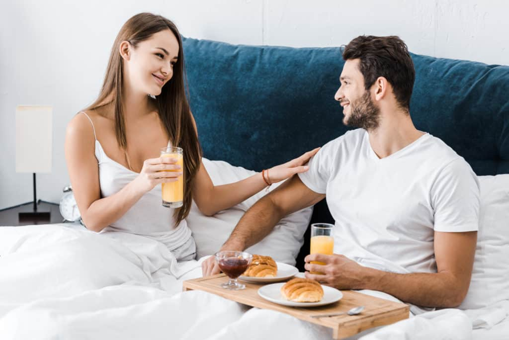 waking him up to breakfast in bed